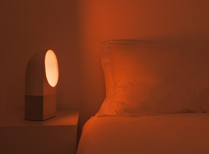 <p>Orange/red light is used at night and turns off when you fall asleep.</p>