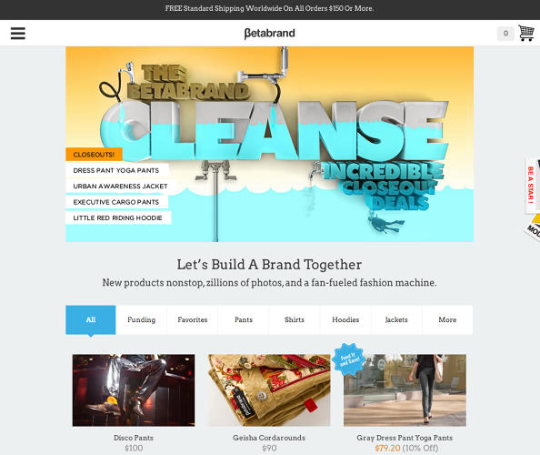 <p>The normal Betabrand site, midday Wednesday, Jan. 8.</p>
