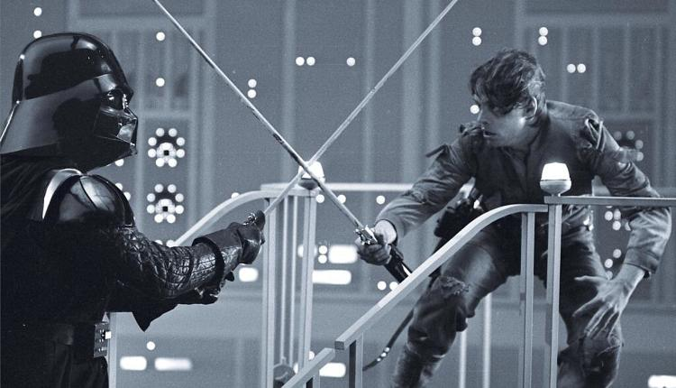 <p>A lightsaber duel before the special effects get put in.</p>