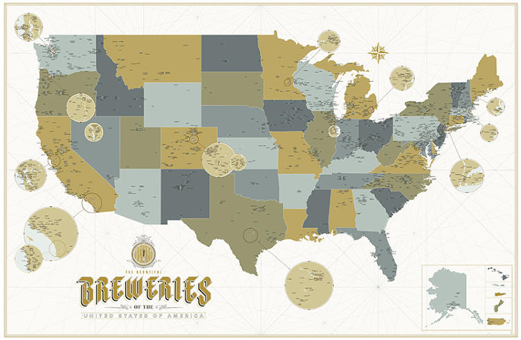 <p>This is a map of 2,500 breweries, microbreweries, and brewpubs in the U.S.</p>
