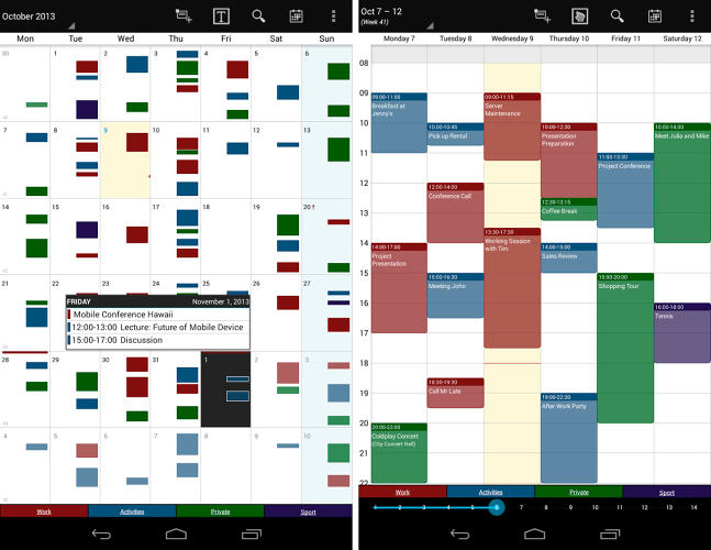 <p>If you use an Android smartphone, you might want to give this <a href=&quot;https://play.google.com/store/apps/details?id=mikado.bizcalpro&amp;hl=en&quot; target=&quot;_blank&quot;>professional calendar app</a> a whirl. The configurable widgets are nice addition to see your overall schedule at a glance. Like Cal, there is also a task organizer.</p>