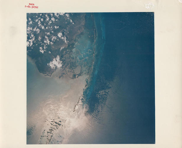 <p>Florida keys from orbit, Gemini 4, June 1965</p>