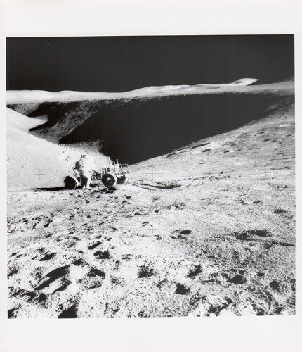 <p>James Irwin, David Scott and the lunar rover, Apollo 15, August 1971</p>