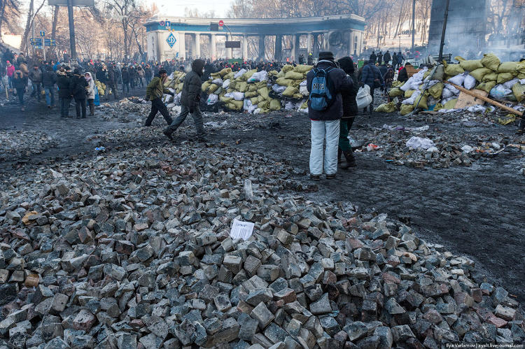 <p>&quot;The Maidan's quarries. People break ... into easy to throw stones, load into sacks and bring to the frontline.&quot;</p>