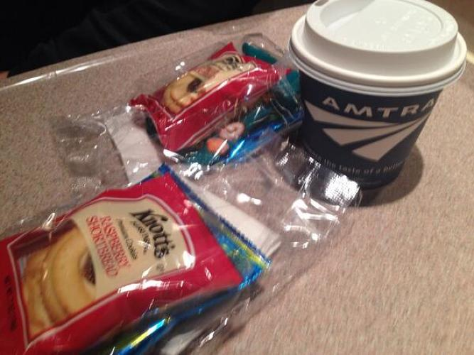 <p>Amtrak crew just handed out complementary snacks so we know we're screwed.</p>