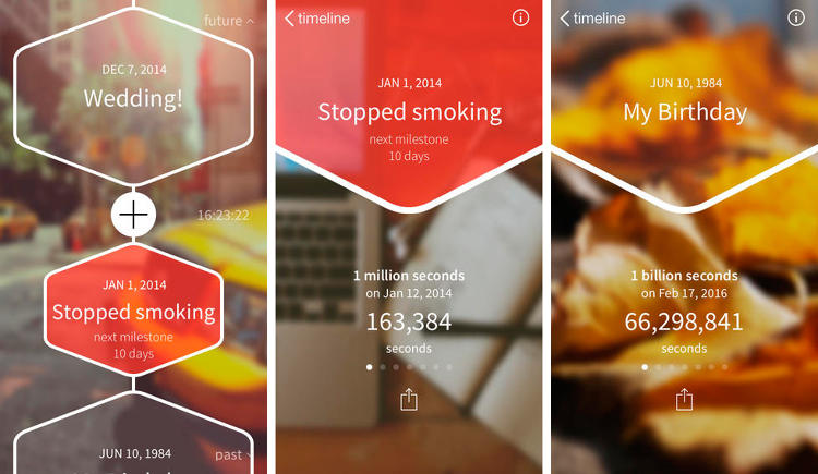 <p>Milestone keeps a stopwatch-style record of the days since you quit smoking, the hours until you say &quot;I do,&quot; the billions of seconds since you were born--a simple yet staggering level of detail. Just don't get caught peeking at the app when someone asks how long you've been married. (<a href=&quot;https://itunes.apple.com/us/app/milestone-celebrate-moments/id794876340?mt=8&quot; target=&quot;_blank&quot;>iOS</a>)</p>