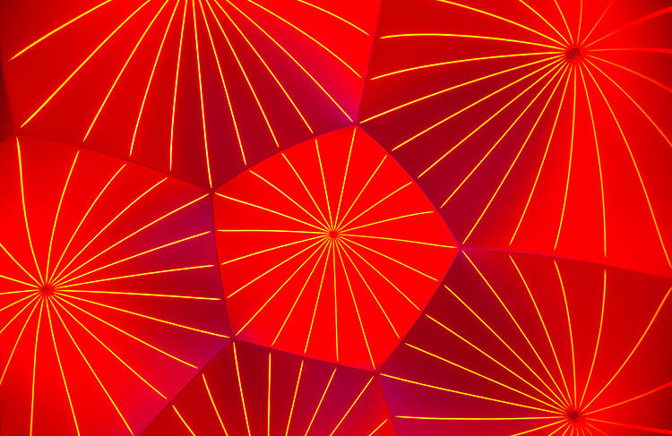 <p>The luminarium's ceilings, lit only by sunlight, give off a kaleidoscope-like effect.</p>