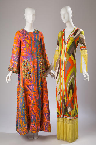 <p>Exoticism: In the 1960s, the rise of commercial air travel renewed a fascination with international fashions. Brightly-colored caftans with beaded trims by Oscar de la Renta and loud, jazzy prints by Emilio Pucci borrowed heavily from traditional textile practices of non-Western cultures.</p>