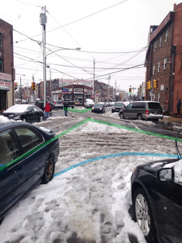 <p>Images of sneckdowns--a term coined in 2001 by the group Transportation Alternatives--can help advocates make the case to their cities for more permanent street improvements.</p>