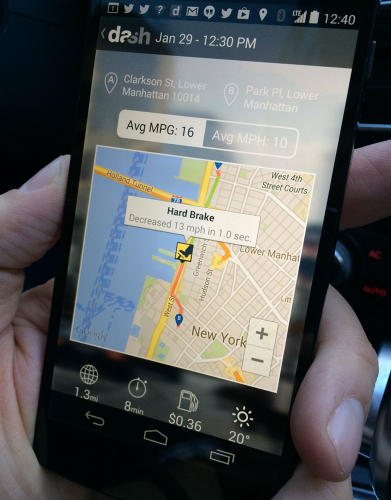 <p>While a trip is in progress, the app provides a visual gauge of fuel MPG, and auditory alerts for behavior like hard braking and over-accelerating. It's all as hands-free as possible, to avoid adding any kind of distraction to a driver. You can see here where Dash cofounder Jamyn Edis demonstrated a &quot;hard brake alert.&quot;</p>