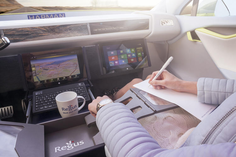 <p>The car's infotainment system will let workers connect to their office and create presentations.</p>