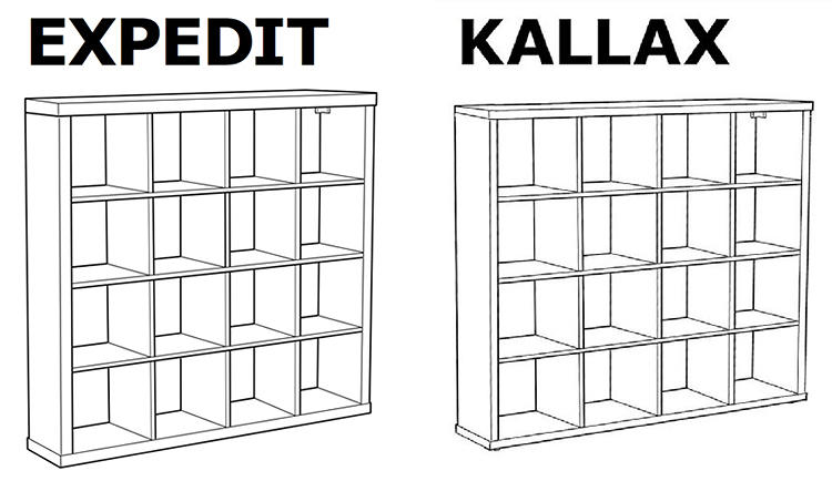 <p>Take a close look at the side panels of these two shelves to find the difference.</p>