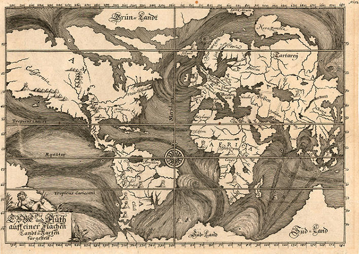<p>This 1685 map illustrates ocean currents as understood at the time based on the observations of explorers and mariners. Early cartographers had to make sense of some confusing data from these reports without the fancy viz tools we have today.</p>
