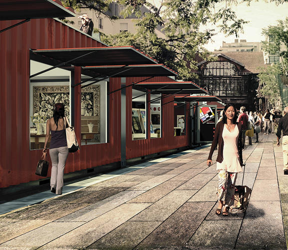 <p>An idea for an abandoned rail line: a mobile art market that travels from city to city.</p>