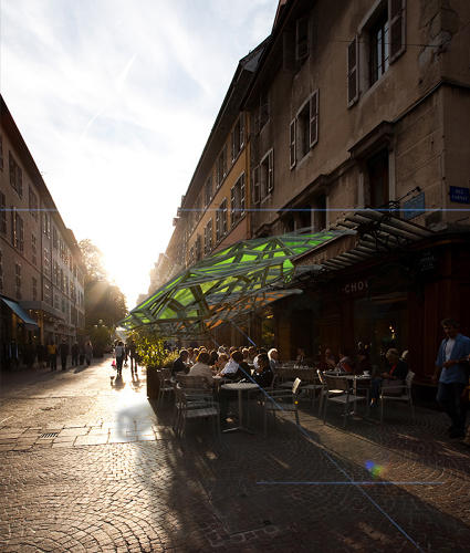 <p>Created by design research lab Amorphica, the parasol was conceived for the Urban Prototyping Festival as a DIY project that could be put together by anyone with access to PVC piping and a 3-D fab lab.</p>