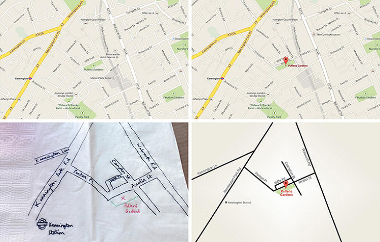 <p>Napkin sketch maps, from Google designers</p>