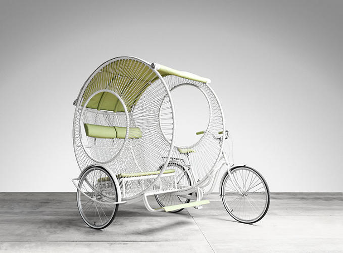 <p>The entire vehicle is built from aluminum and a woven polyethylene, so it's both sturdy and lightweight.</p>