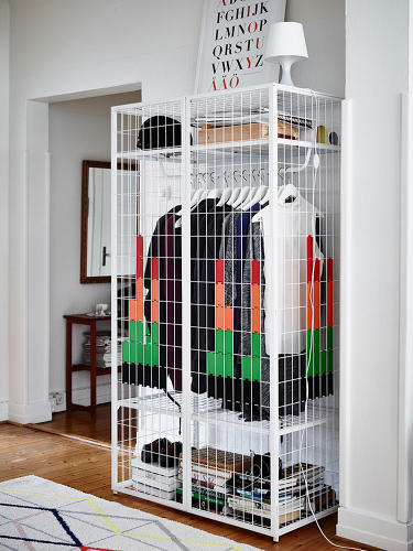 <p>Here, a wardrobe designed by Matali Crasset, which has an open weave so as to not block off too much space in a small room.</p>