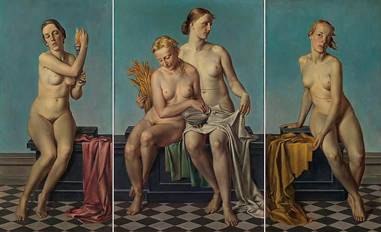 <p>What the Nazis did find acceptable was strict, wholesome realism in neoclassical style, such as Adolf Ziegler's kitschy, classicized triptych of buxom blond nudes, which once hung above Hitler's mantelpiece: &quot;The Four Elements: Fire [left wing][/left], Earth and Water [center], Air [right],&quot; 1937.</p>