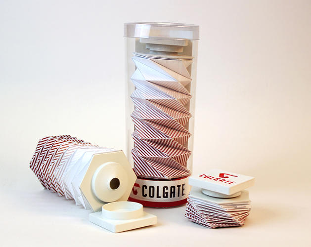 <p>Her design is a cylindrical, spiraling, origami-influenced bit of packaging that collapses like an accordion as the toothpaste gets used.</p>