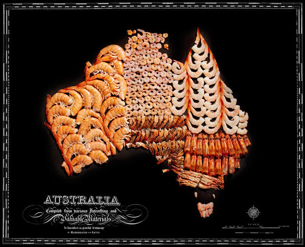 <p>The phrase &quot;throw some shrimp on the barbie&quot; inspired the shrimp-filled map of Australia.</p>