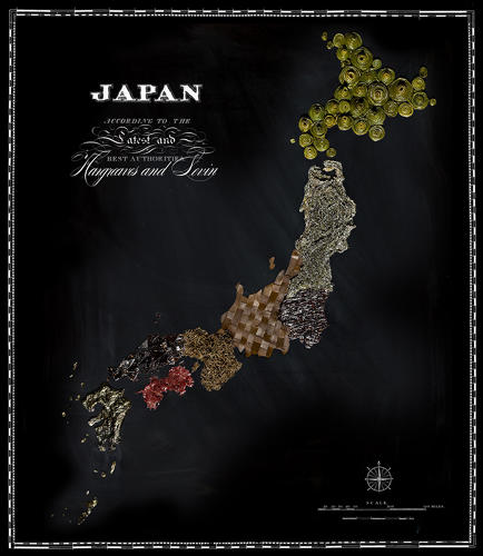 <p>The real beauty is how carefully Hargreaves and Levin have sliced and diced the chosen foods to create quilt-like patterns for each map, like with the various seaweed in Japan.</p>