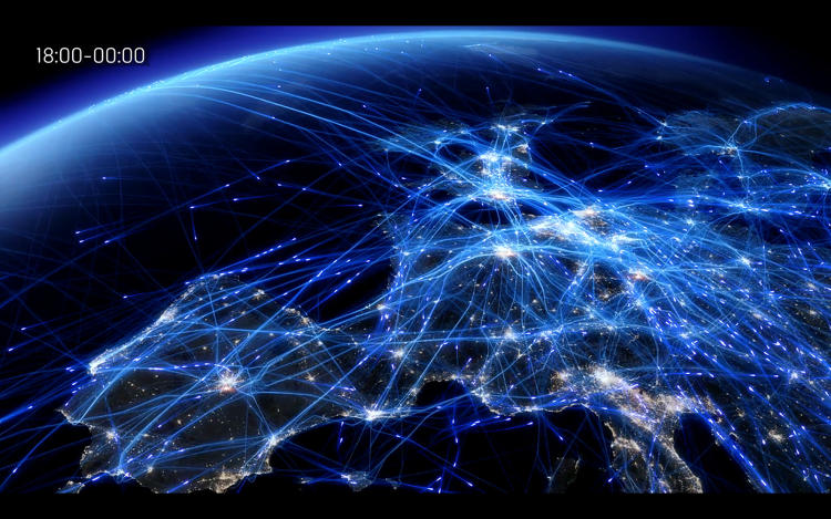 <p>A carbon tax may help, but emissions are still going up as air travel becomes more and more popular--as the zigzagging lines on this map make clear.</p>