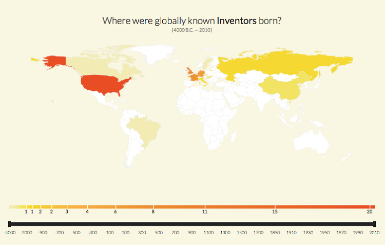 <p>Search for famous inventors, and you'll see that the United States leads. Europe and Russia follow.</p>