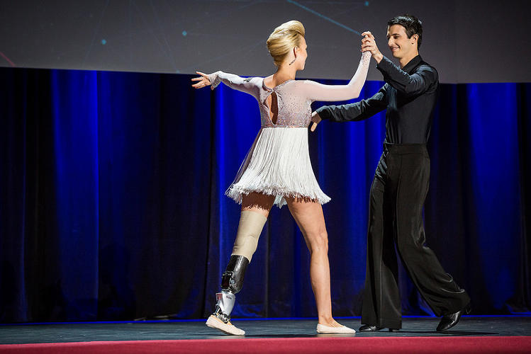 <p>At TED, thanks to a bionic limb made by Hugh Herr, she danced again for the first time.</p>