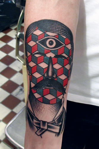 <p>A surreal portrait with geometric patterning.</p>