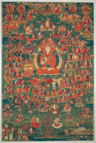 <p>Konchong Gyalsten<br /> Tsongkhapa Refuge Hosts Field Tree <br /> circa 18th Century<br /> Rubin Museum of Art</p>
