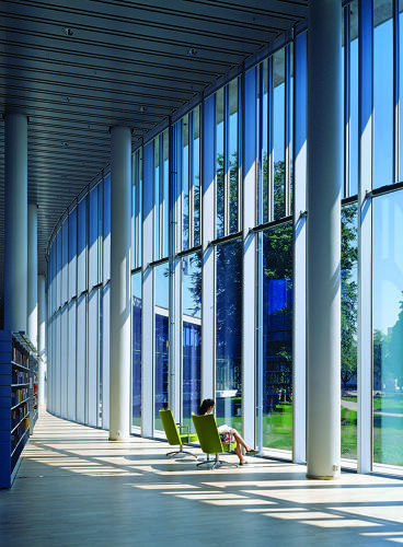 <p>Designed by Schmidt Hammer Lassen Architects, 2006. Made of simple materials--concrete, glass, and Nordic larch flooring--the Halmstad City Library is set in parkland on the River Nissan, overlooking the historic city centre.</p>
