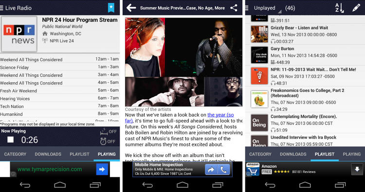 <p>Search through their database of more than 300 radio stations and shows, and tap to download into a playlist or stream directly--helpful when you want to download a bunch over Wi-Fi before hopping on the train. The shows play seamlessly, so you're never fumbling to switch stations or start the next show.</p>