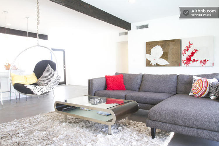 <p>Heading to Palm Springs? Maybe you'd like to stay in a beautiful <a href=&quot;https://www.airbnb.com/rooms/716950&quot; target=&quot;_blank&quot;>angular bungalow</a> with one of those ceiling-mounted swing chairs in the living room.</p>