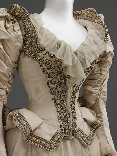 <p>An embroidered silk wedding dress made by Stern Brothers, New York, 1890, and worn by society lady Cara Leland Huttleston Rogers for her marriage in New York to Bradford Ferris Duff.</p>