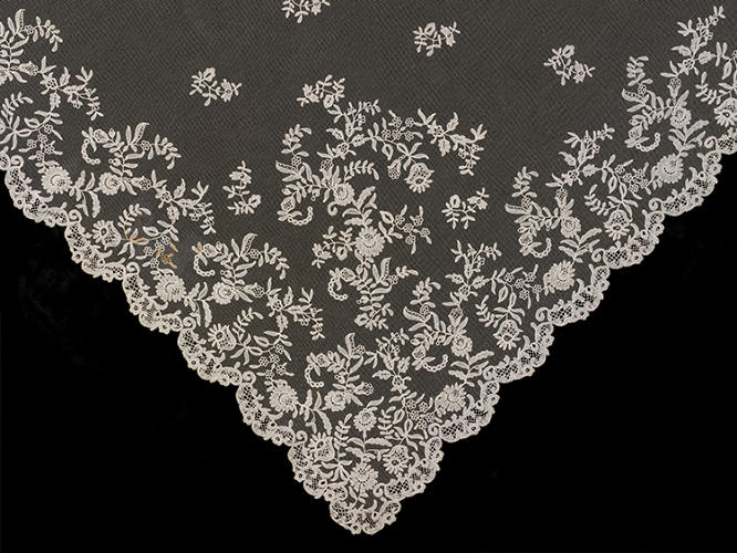 "<p>""I wore a white satin dress, with a deep flounce of Honiton lace,"" wrote Queen Victoria, the ultimate trendsetter, in her diary after her 1840 wedding to Prince Albert. At the time, white was an unusual choice for brides. Honiton lace wedding veil, British, c. 1850.</p>"