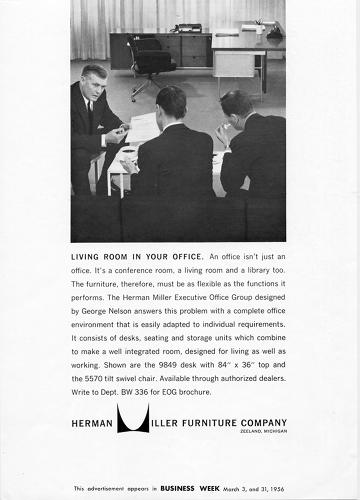 "<p>In 1956, Herman Miller issued an advertisement for the ""living room in your office,"" saying, ""An office isn't just an office. It's a conference room, a living room and a library too. The furniture, therefore, must be as flexible as the functions it performs.""</p>"