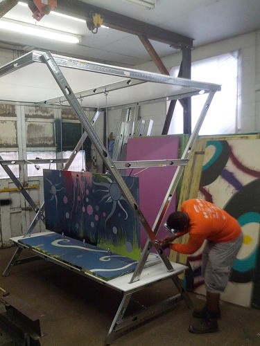 <p>That's a goal of a new project, called Door Stops, to build mobile bus shelters out of recycled parts from abandoned buildings.</p>