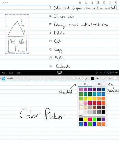 <p>A simple stylus app that's a decent alternative to Evernote's new <a href=&quot;http://blog.evernote.com/blog/2014/03/05/handwriting-arrives-evernote-android/&quot; target=&quot;_blank&quot;>Handwriting feature</a>. Draw, write, select, and move parts of the note around pages. Premium features include PDF editing, which could be worth the extra cost.</p>