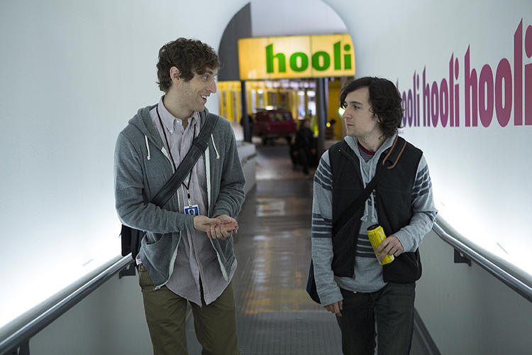 <p>In the first episode, protagonist Richard (Thomas Middleditch, left) works at Hooli, a Google-esque company with an office full of funky meeting spaces, concrete floors, and kitchens everywhere.</p>