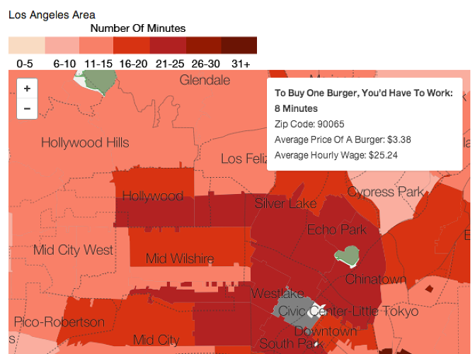 <p>Using data from <a href=&quot;http://getfoodgenius.com/&quot; target=&quot;_blank&quot;>Food Genius</a> about average burger prices for Los Angeles, New York, Chicago, San Francisco, and Washington, D.C., Planet Money was able to figure out the average number of minutes a person would have to work per city to buy themselves a burger.</p>
