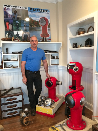 <p>Sigelakis, a 15-year veteran New York City firefighter, in his office in Long Beach. &quot;It would shock you how often fire hydrants don't work when you need them,&quot; he says.</p>