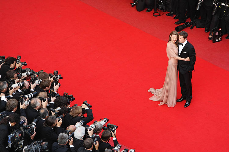 <p>Brad Pitt and Angelina Jolie arrive for the <em>Inglourious Basterds </em>Premiere at the Palais Des Festivals during the 62nd International Cannes Film Festival in May 2009 in Cannes, France.</p>