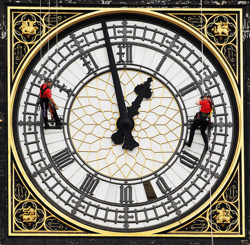 <p>Workmen abseil down The Clock Tower of Parliament which houses Big Ben, to inspect the clock face for damage on August 12, 2010 in London, England. Construction on the The Clock Tower was completed in 1859 and stands at over 96 meters high, the 7 meter wide clock faces have cast iron frames and house 312 pieces of pot opal glass.</p>