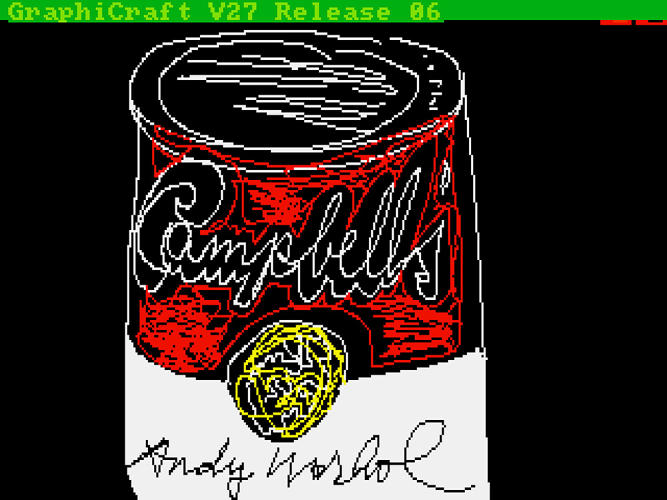 <p>A digital sketch of a Campbell's soup can.</p>