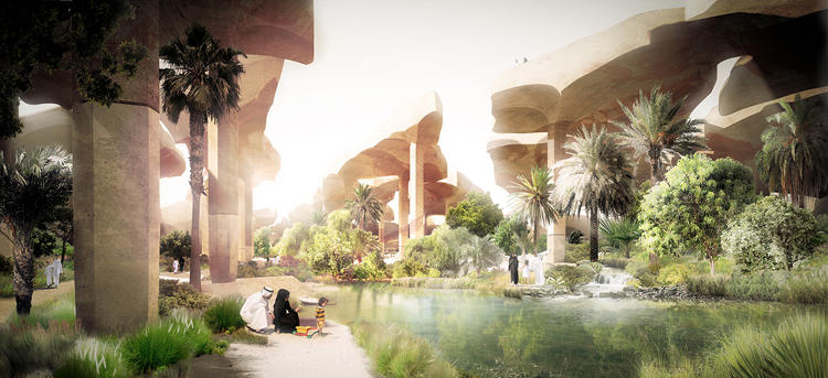 <p>It features 65-foot-high canopies that shade gardens, streams and gathering spaces below.</p>
