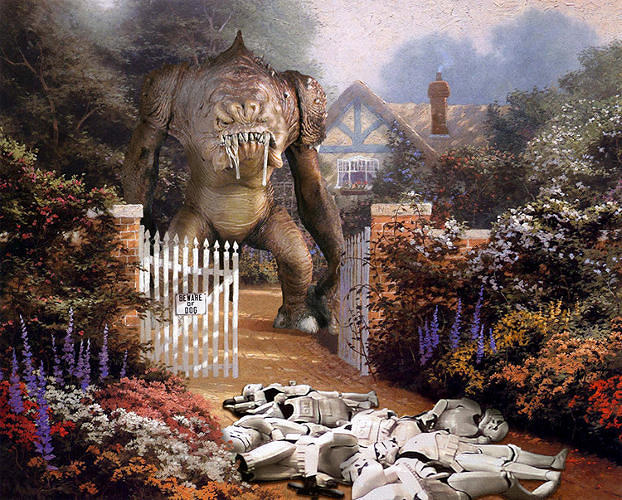 <p>A Rancor drools over a pile of Storm Troopers.</p>