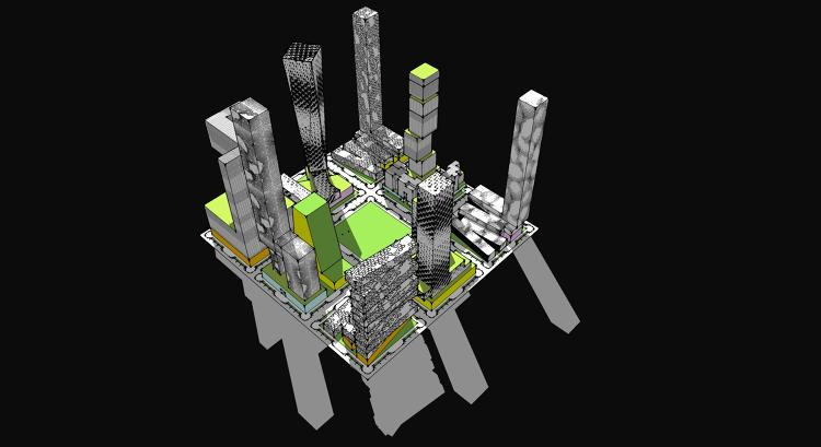 <p>Surprisingly, it wouldn't necessarily have to be that different from the San Francisco of today. The architects mocked up a few different versions of a nine-block chunk of the city.</p>