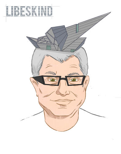 <p>Daniel Libeskind has the extension building of the Denver Art Museum as a helmet on his head.</p>