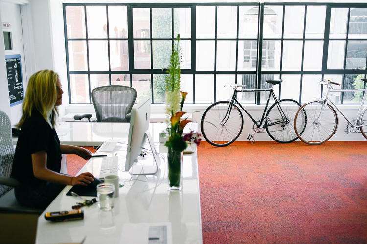 <p>There's a large shop area with 3-D printers and other materials for designers to test ideas and create prototypes, and lots of space for bikes, to encourage two-wheeled commutes to work.</p>